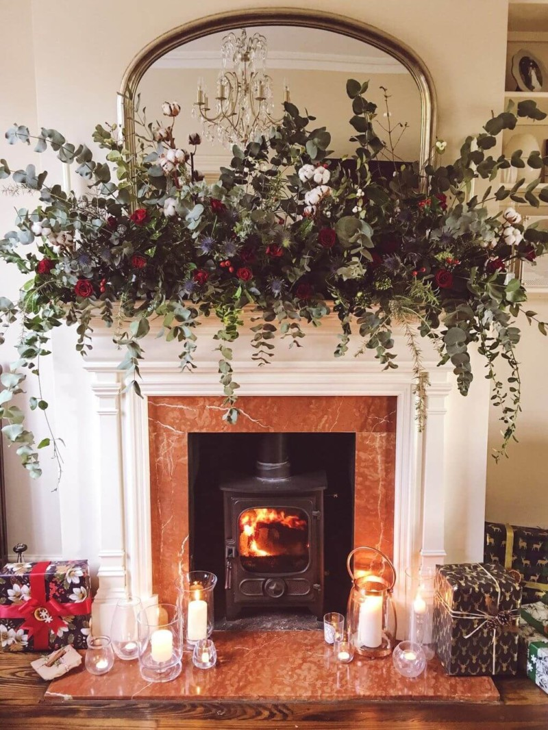 Natural trees flowers mantle Christmas decorations ideas for home