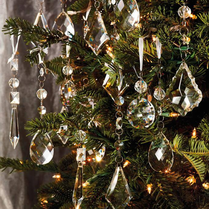 Ornaments Crystal Droplets With Silver Hangers Christmas Decorations on Sale