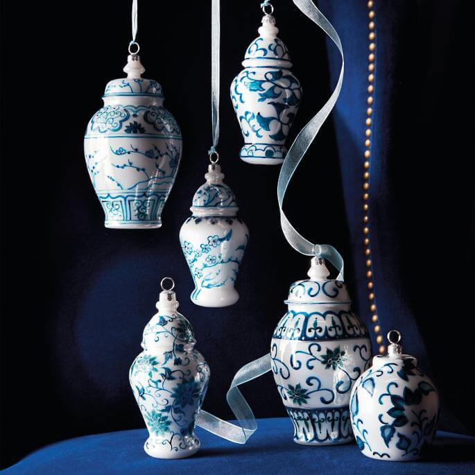 Ornaments French Blue And Linen Traditional Ming Glass Ginger Jars Christmas Decorations on Sale