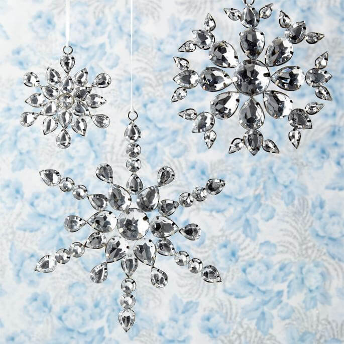 Ornaments Jeweled Snowflake Ornaments Christmas Decorations on Sale