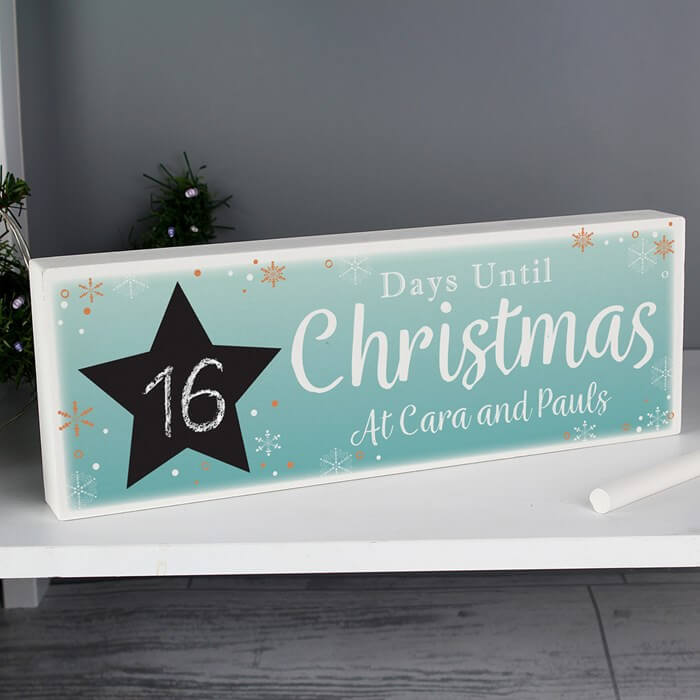Personalised Christmas Chalk Countdown Sign Message Christmas Gifts for Girlfriend