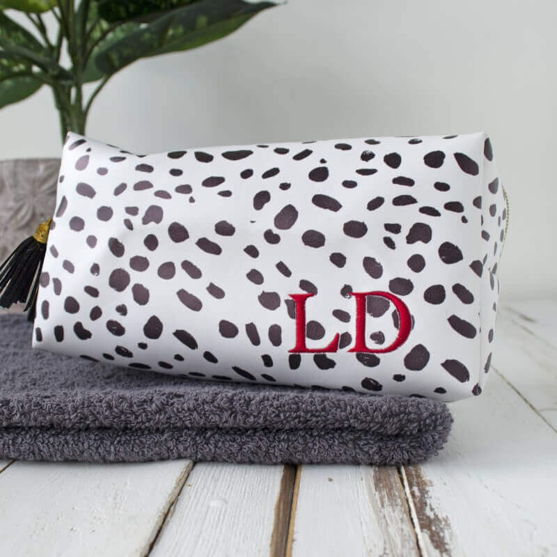 Personalised Dalmatian Print Embroidered Wash Bag Christmas Gifts for Girlfriend
