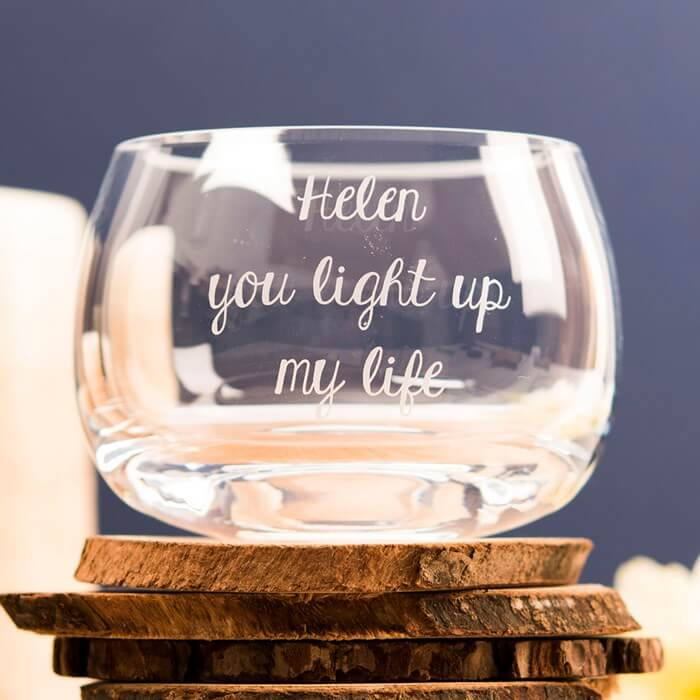 Personalised Glass Candle Holder You Light Up My Life Christmas Gifts for Girlfriend