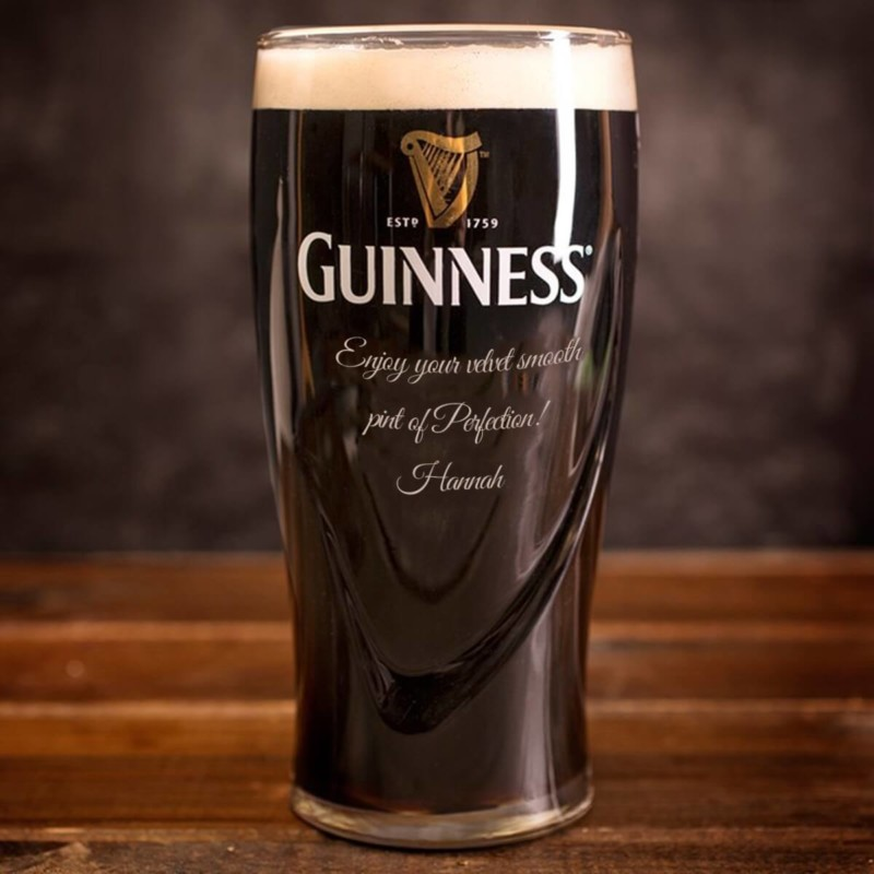 Personalised Guinness Pint Glass Christmas Gift for Boyfriend