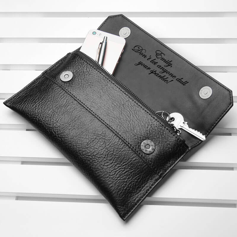 Personalised Leather Clutch Bag Black Christmas Gifts for Girlfriend