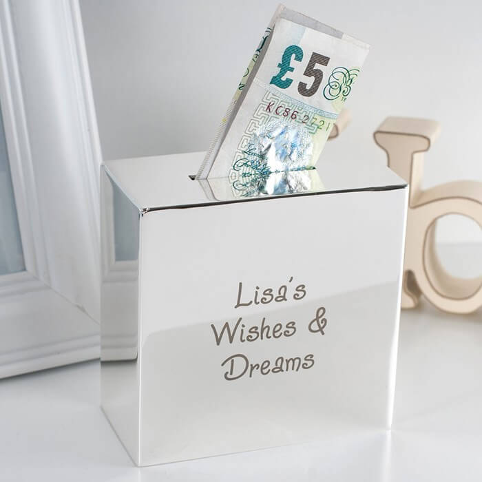 Personalised Silver Square Money Box Any Message Christmas Gifts for Girlfriend