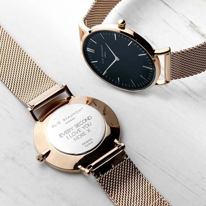 Personalised Women's Rose Gold Mesh Strap Watch With Black Dial Christmas Gifts for Girlfriend