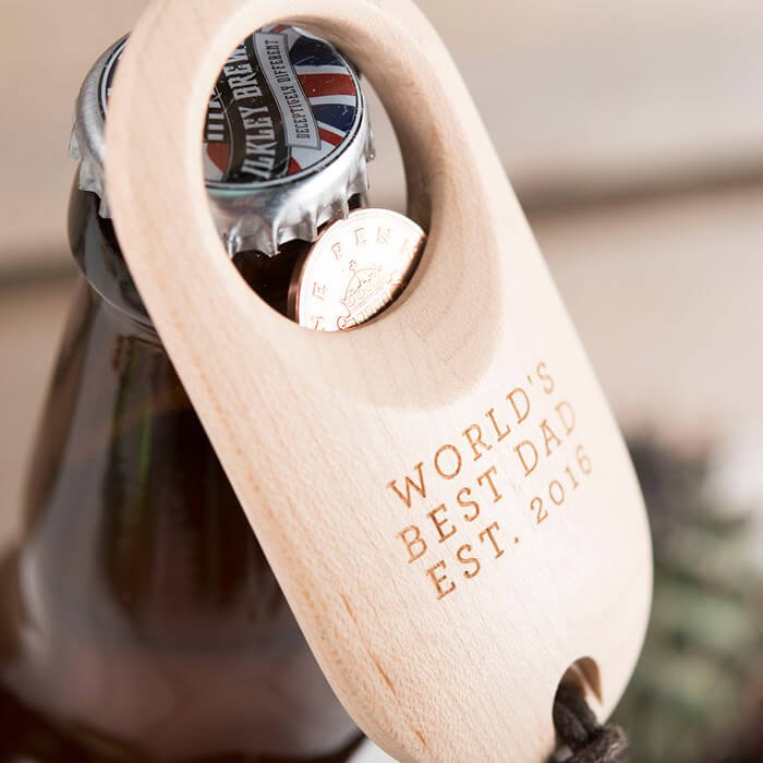 Personalised Wooden Bottle Opener Christmas Gift for Boyfriend