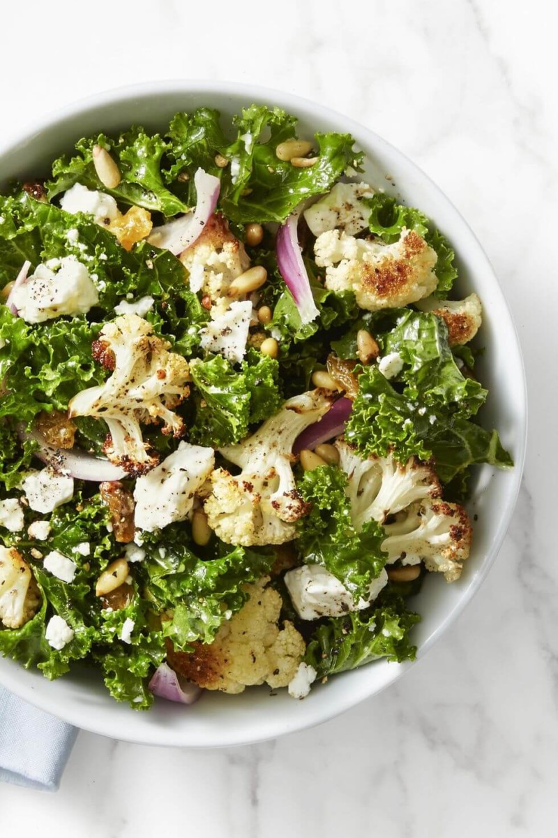 Salad Kale and Roasted Cauliflower Salad Christmas Food Ideas