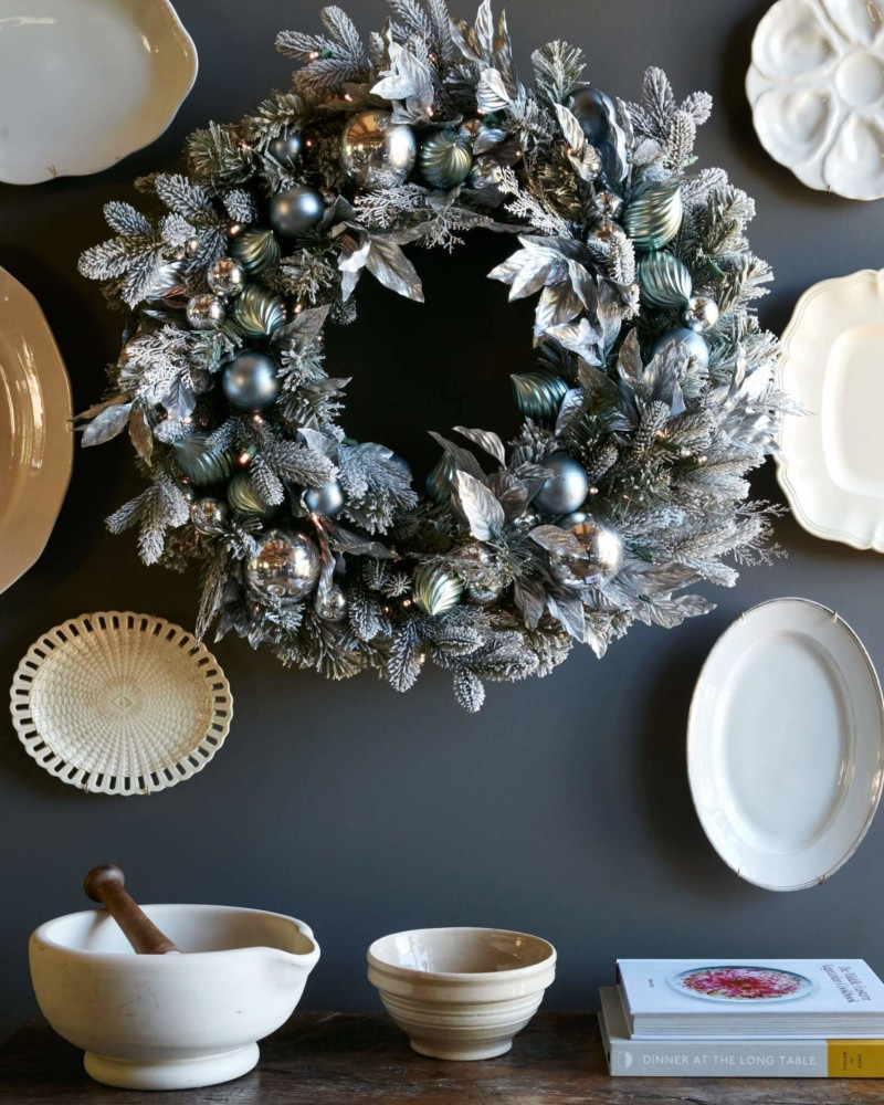 Wreath Silver Frost Foliage Christmas Decorations on Sale