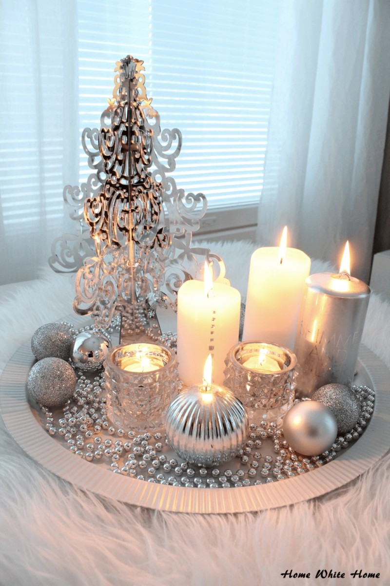 candle center piece dining table Christmas decorations ideas for home