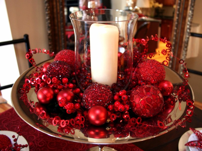 dining room table center piece Christmas decorations ideas for home