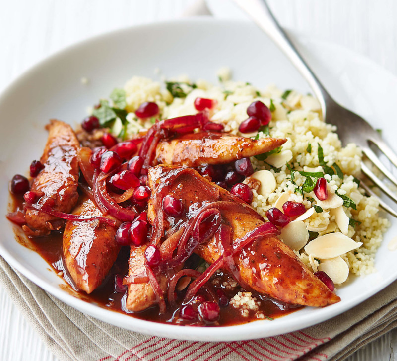 main course Pomegranate chicken with almond couscous
