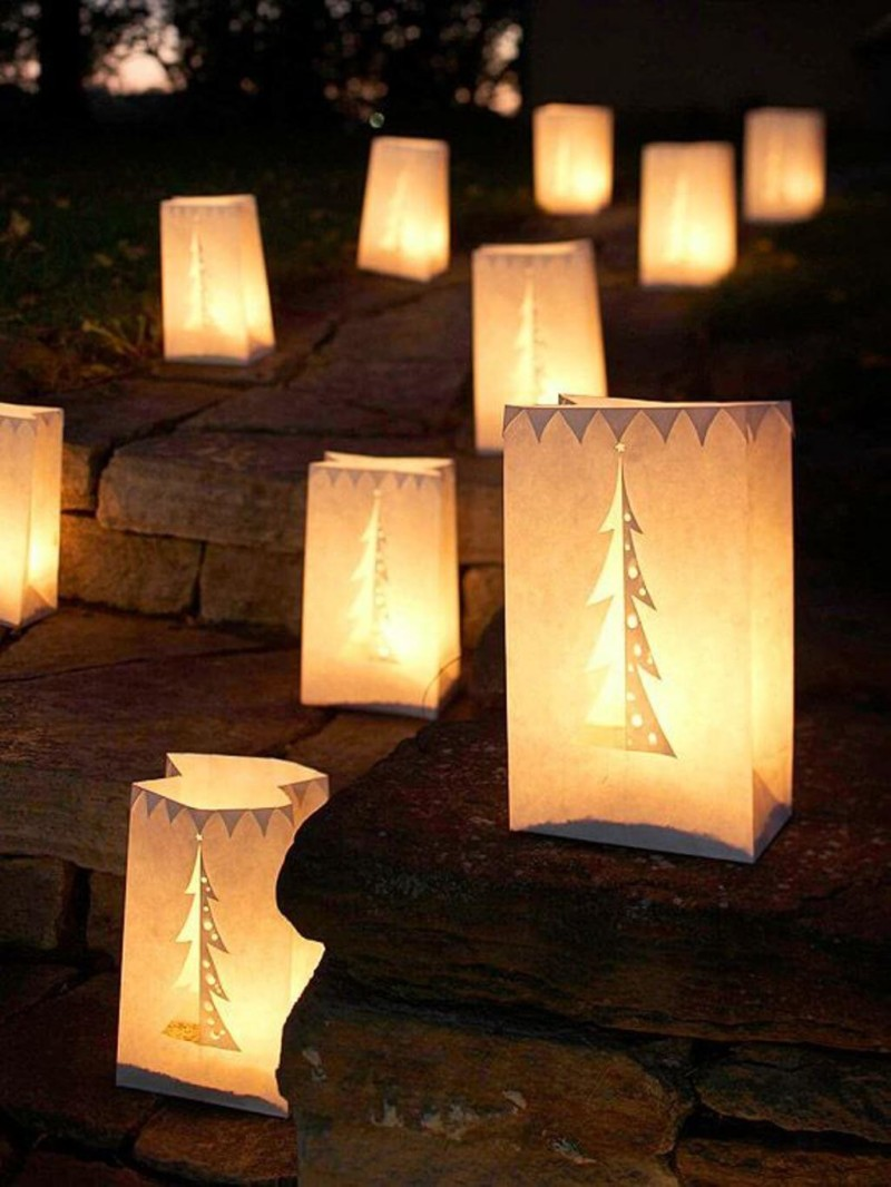 paper bag lantern Christmas decorations ideas for home