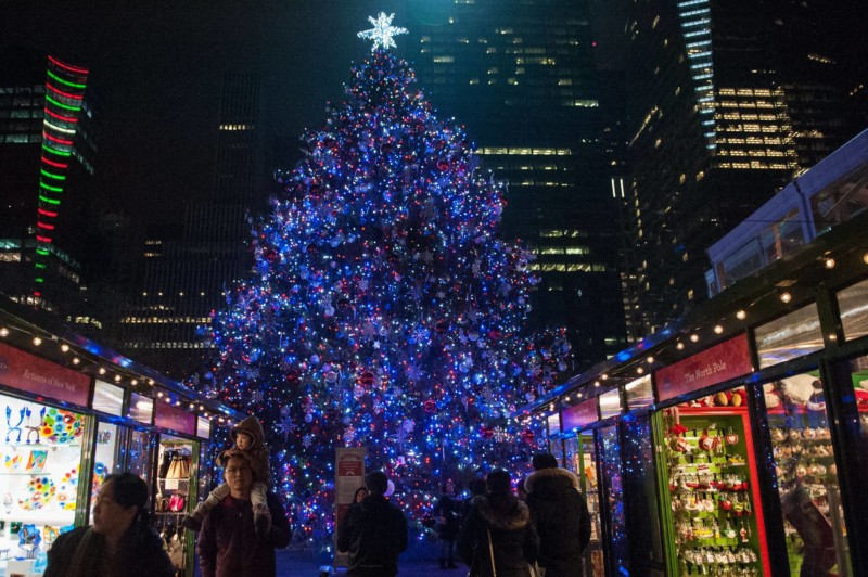 photo in front of the Bryant Park Christmas Tree Christmas in New York