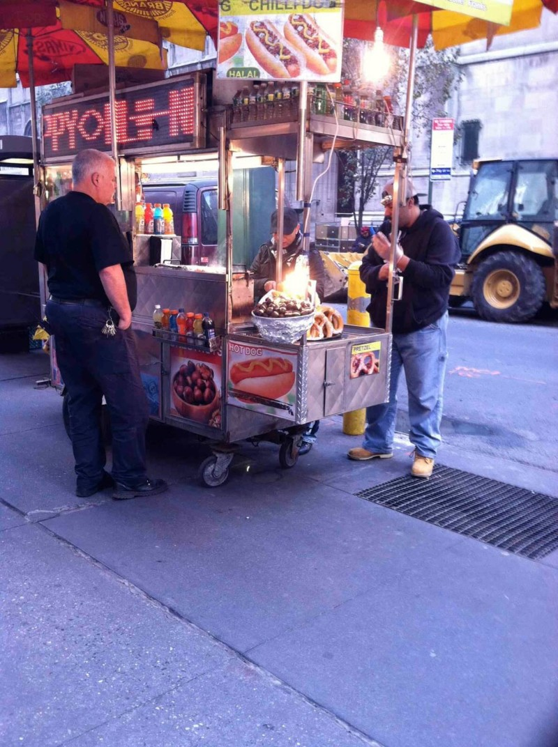 roasted chestnuts from a street vendor Christmas in New York