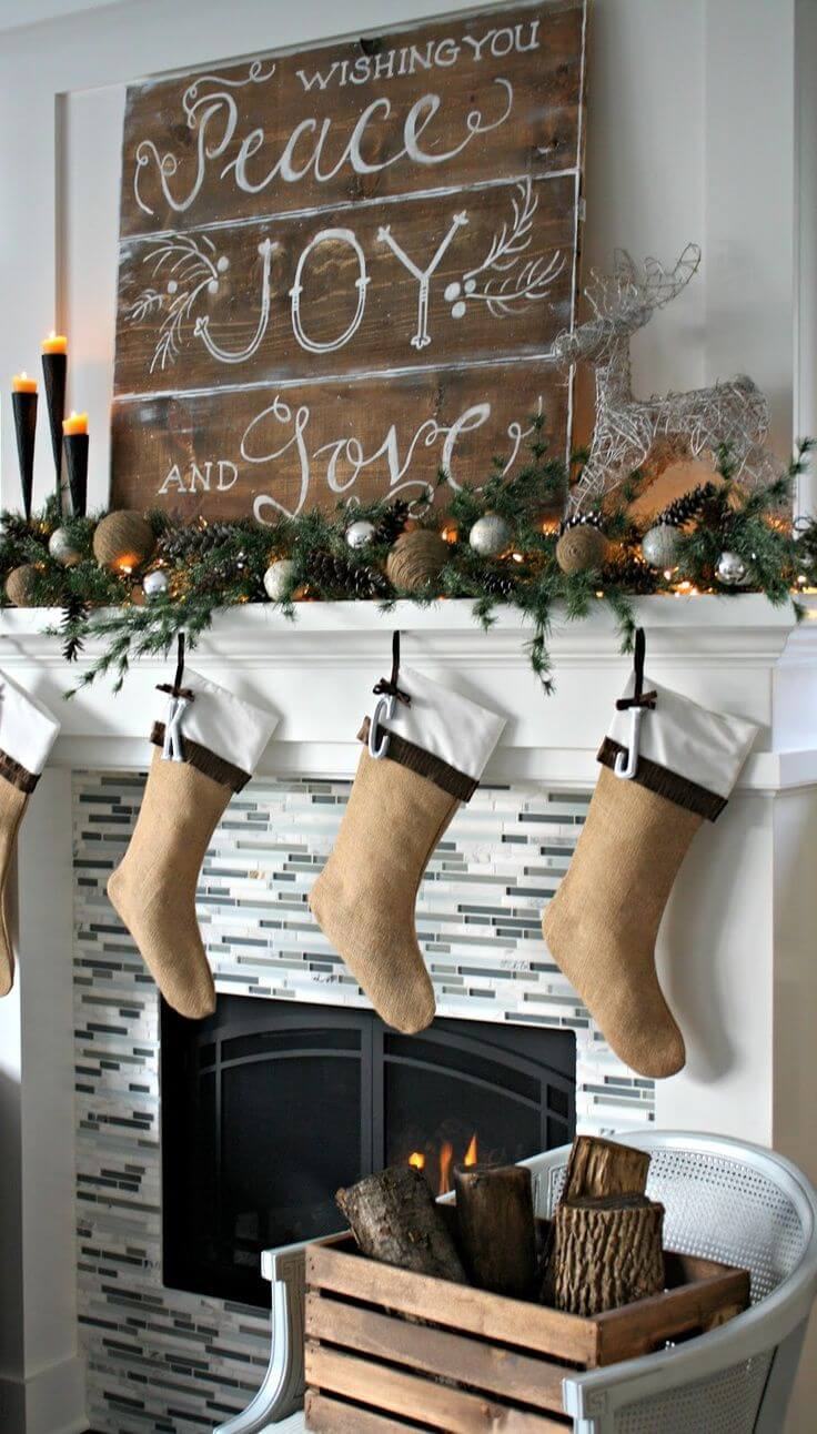 ructic socks on mantle Christmas decorations ideas for home