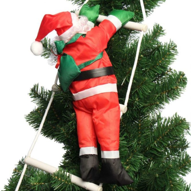 santa climbing christmas tree decoration
