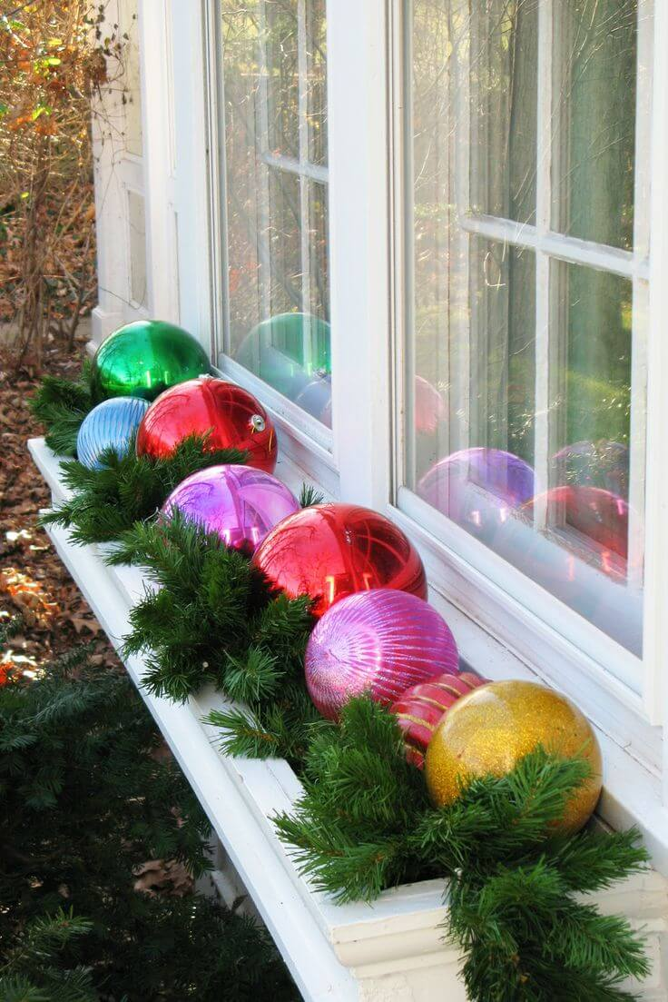 shiny balls on window pane Christmas decorations ideas for home
