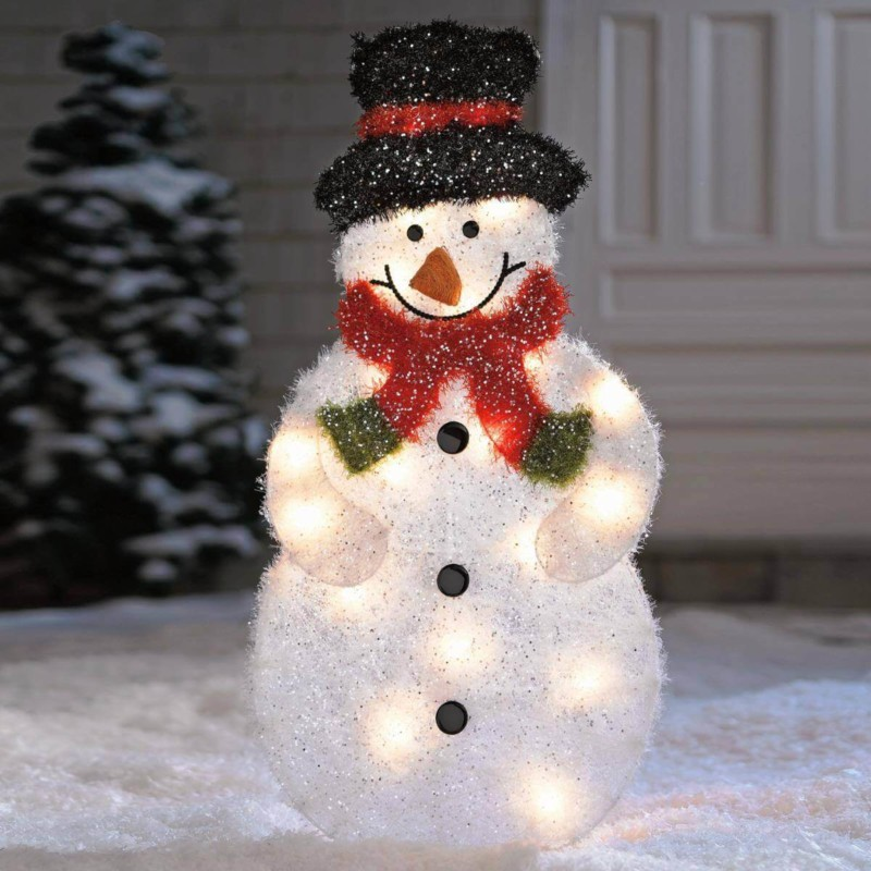 snowman with lights Christmas decorations ideas for home