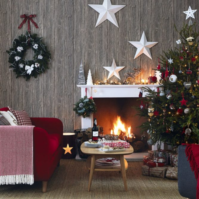 white stars mantle Christmas decorations ideas for home