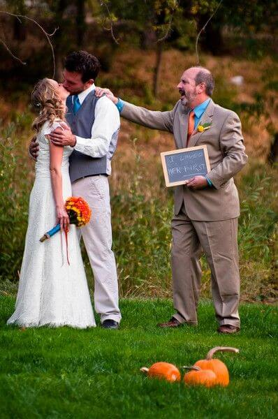 Couple with brides father Unique Wedding Photoshoot Ideas