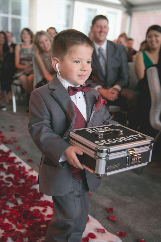 Ring bearer security Unique Wedding Photoshoot Ideas