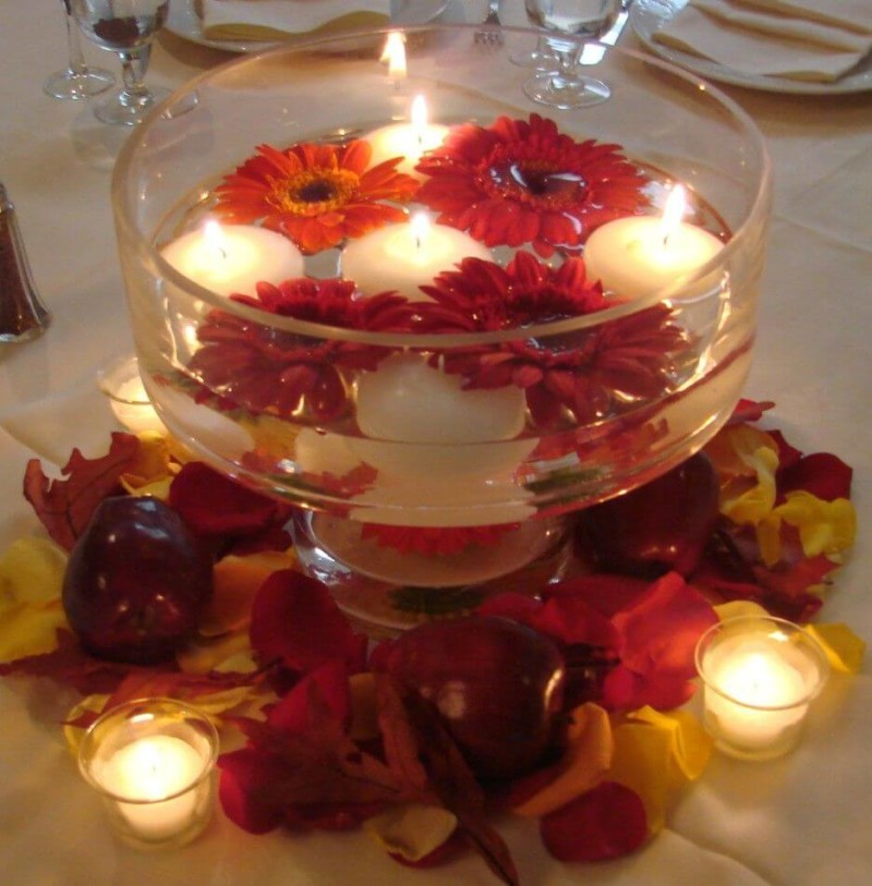 Round Glass Bowl with Candles Wedding Centerpieces