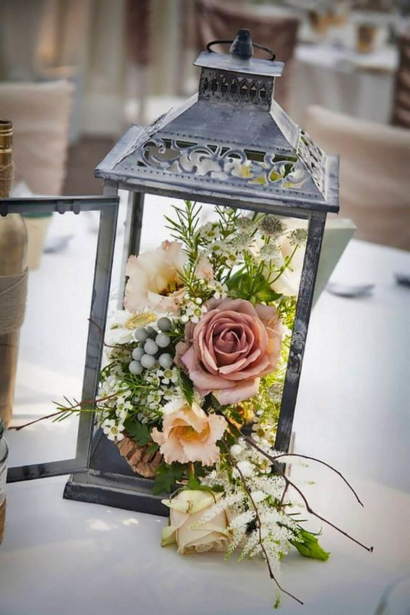Rustic Lantern with Flowers Wedding Centerpieces