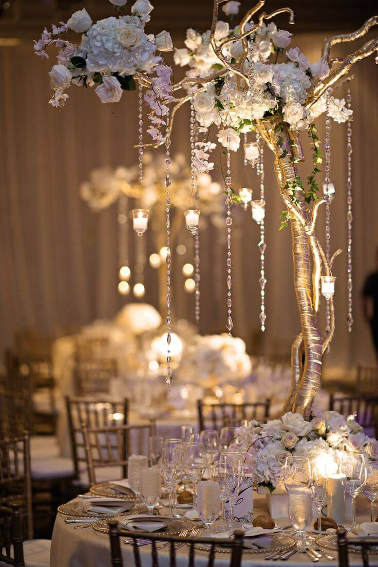 Small Tree With golden branches Wedding Centerpieces