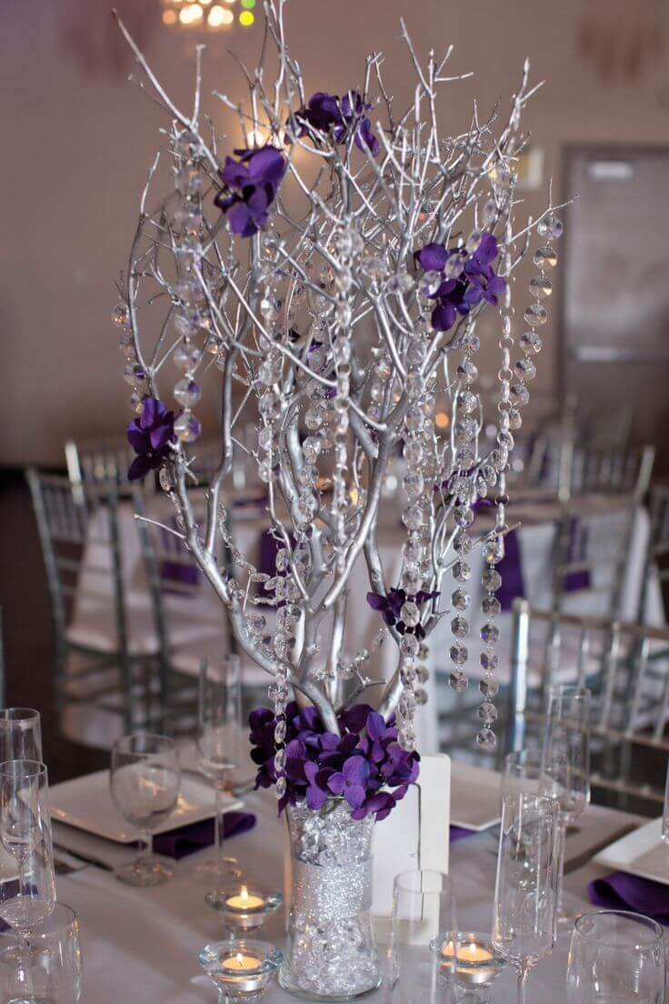 Spray Painted Dangling Branches Wedding Centerpieces