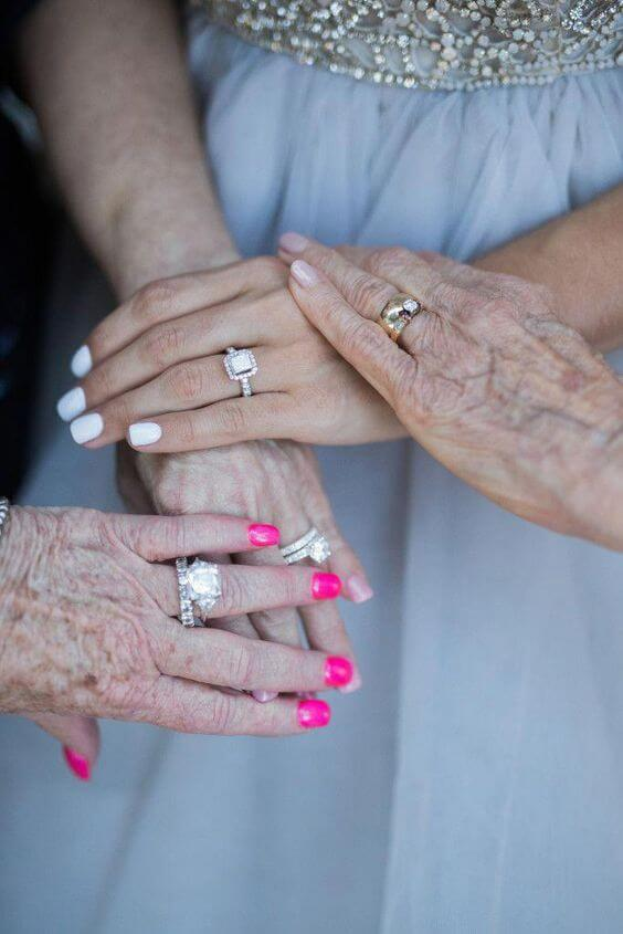 three generations of women with ring Unique Wedding Photoshoot Ideas