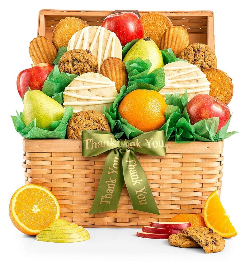 Fresh Fruit and Gourmet Cookies Thank You Gift Basket