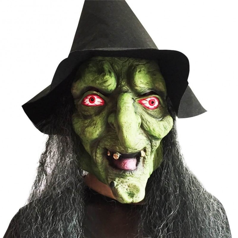 Witch Mask with Black Hair and Hat for Halloween