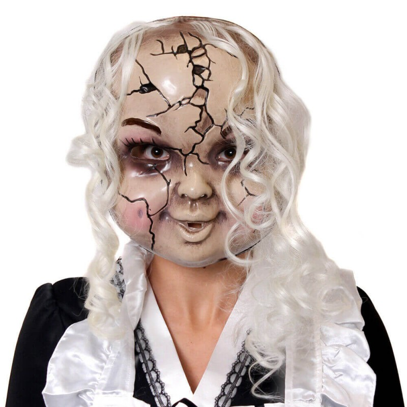 Cracked Porcelain Doll Mask With Hair